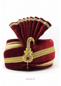 Charming Maroon Velvet Wedding Turban