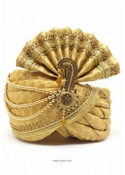 Classy Cream Brocade Wedding Turban