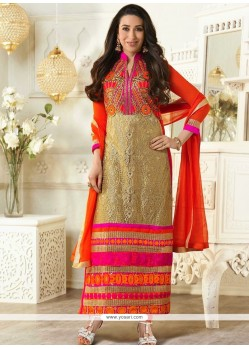Karishma Kapoor Cream And Orange Embroidery Churidar Suit
