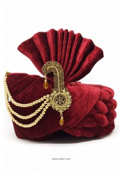 Perfect Maroon Velvet Wedding Turban