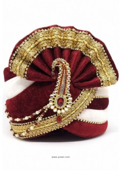 Maroon And White Velvet Wedding Turban