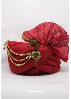Red Chanderi Silk Wedding Turban