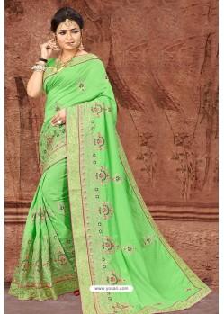 Parrot Green Party Wear Designer Silk Saree