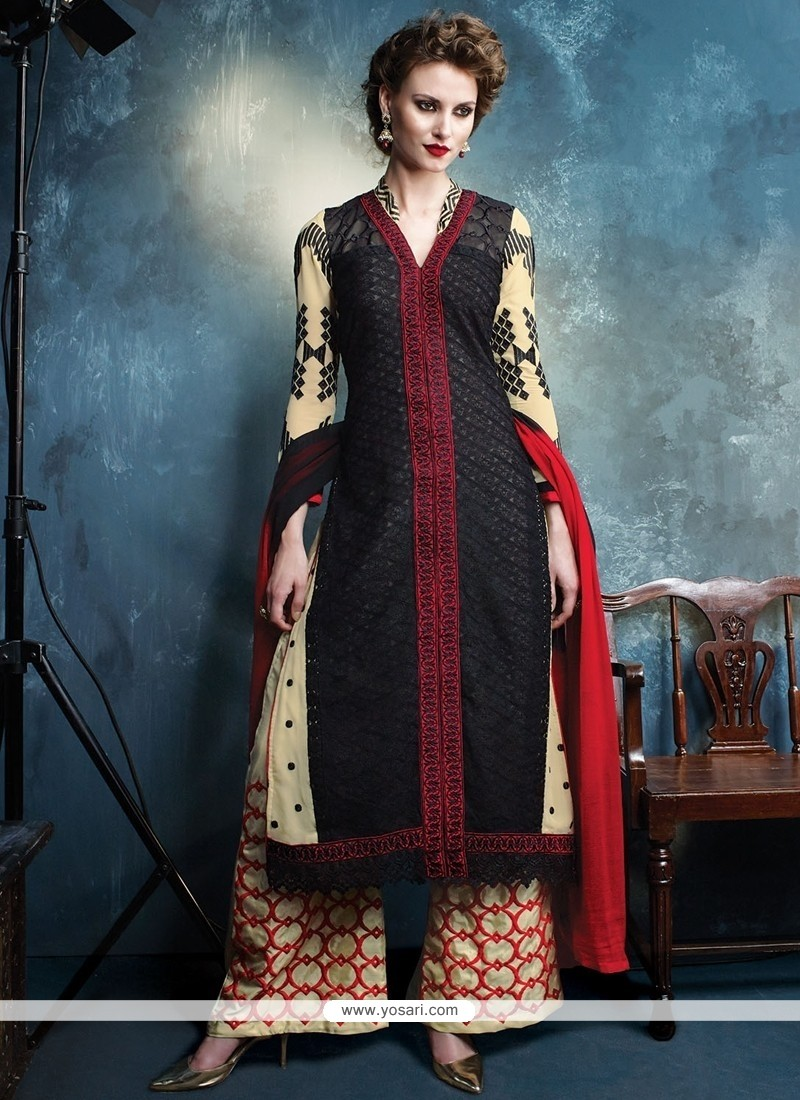 Winsome Black Designer Palazzo Salwar Kameez