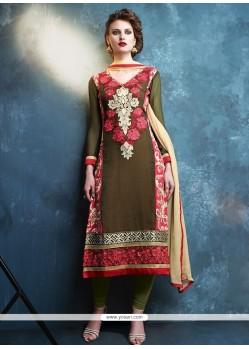 Paramount Resham Work Georgette Green Churidar Designer Suit