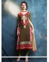 Paramount Resham Work Georgette Green Churidar Designer Suit