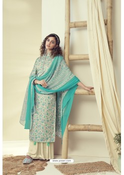 Cream And Mint Latest Pure Zam Cotton Palazzo Suit