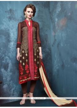 Splendid Brown Embroidered Work Churidar Designer Suit