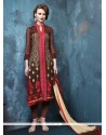 Splendid Brown Embroidered Work Churidar Designer Suit