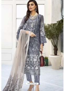 Grey Heavy Embroidered Designer Straight Suit