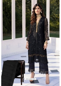 Girlish Black Butterfly Net Designer Straight Suit
