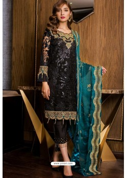 Pretty Black Heavy Embroidered Designer Straight Suit