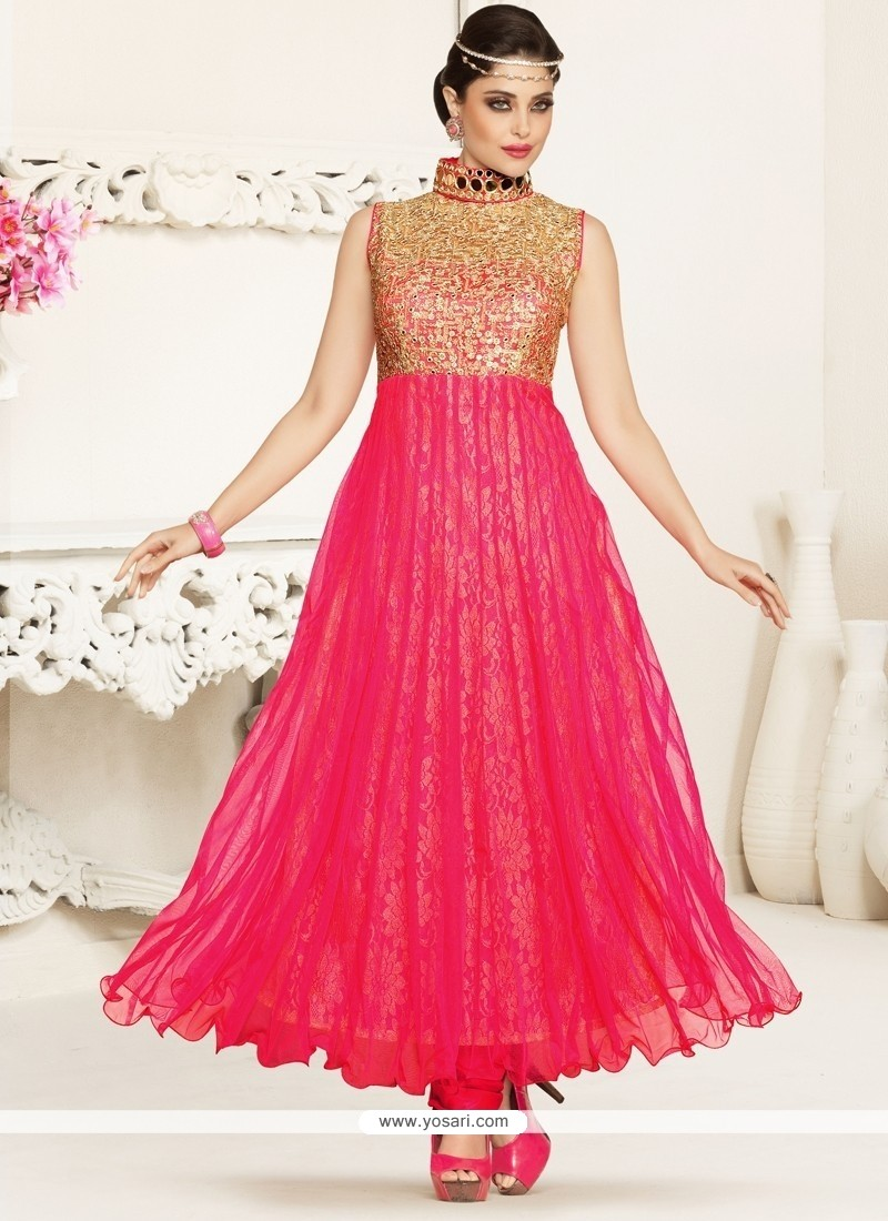 Titillating Hot Pink Anarkali Salwar Suit