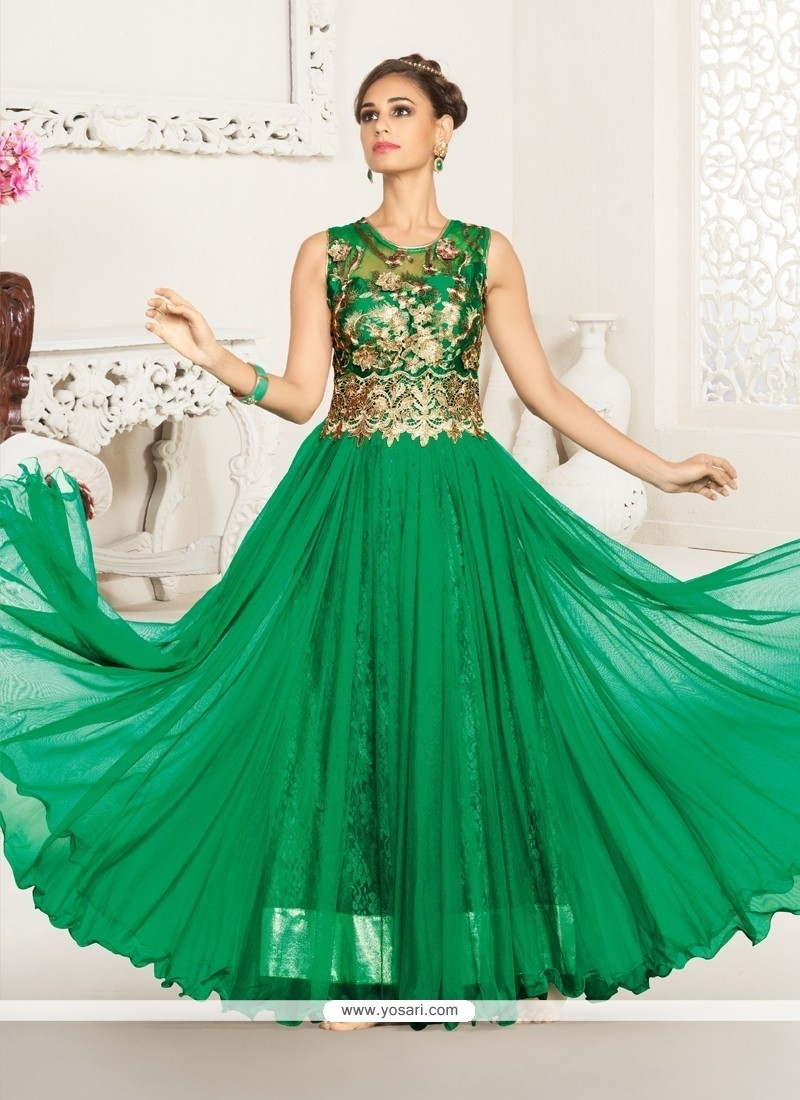 Stunning Green Resham Work Net Anarkali Suit