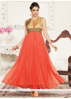 Pleasance Embroidered Work Net Peach Anarkali Salwar Suit