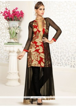 Tempting Embroidered Work Black And Red Georgette Salwar Suit