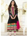 Karishma Kapoor Black Georgette Churidar Suit