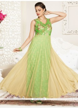 Pleasance Cream And Green Resham Work Net Anarkali Suit