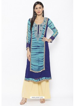 Latest Blue Designer Georgette Party Wear Kurti