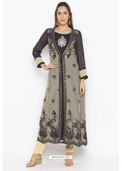 Fashionable Beige And Navy Net Party Wear Kurti