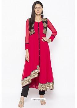 Crimson Designer Georgette Party Wear Kurti