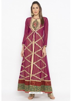 Purple And Cream Designer Georgette Party Wear Kurti