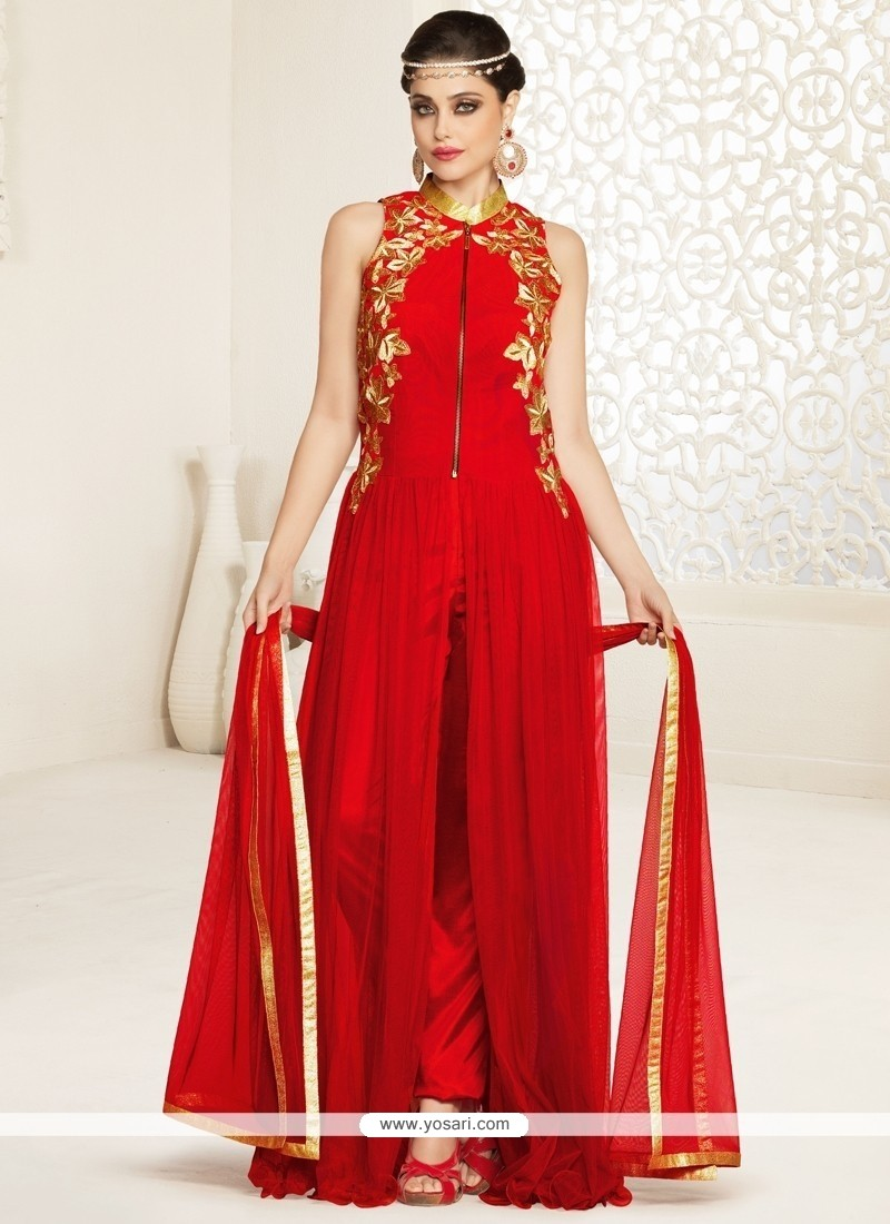 Imperial Net Red Zari Work Designer Salwar Suit