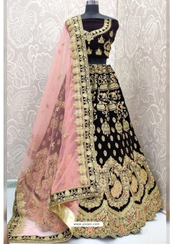 Purple Designer Velvet Wedding Wear Lehenga Choli