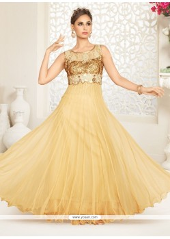 Cream Net Anarkali Salwar Suit