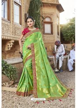 Parrot Green Designer Satin Jacquard Silk Saree