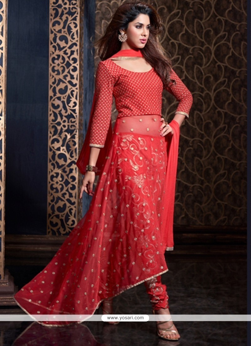 Hypnotic Net Red Anarkali Suit