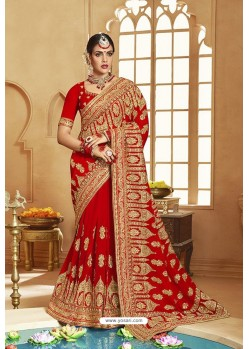 Desirable Red Heavy Designer Georgette Bridal Saree