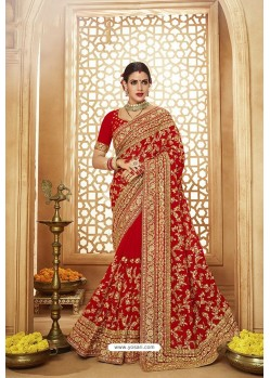 Beautiful Red Heavy Designer Georgette Bridal Saree