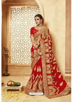 Amazing Red Heavy Designer Georgette Bridal Saree