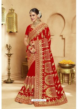 Lovable Red Heavy Designer Georgette Bridal Saree