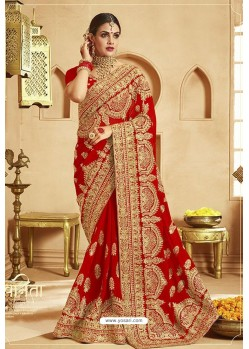 Attractive Red Heavy Designer Georgette Bridal Saree