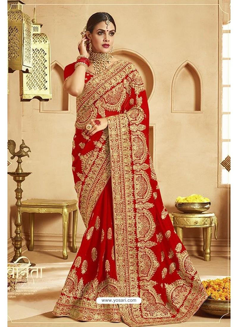 Attractive Red Heavy Designer Georgette Bridal Saree