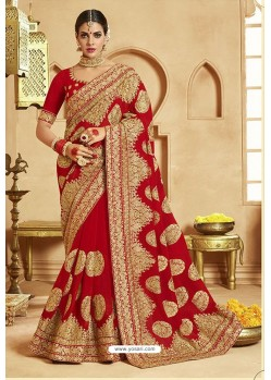 Pretty Red Heavy Designer Georgette Bridal Saree