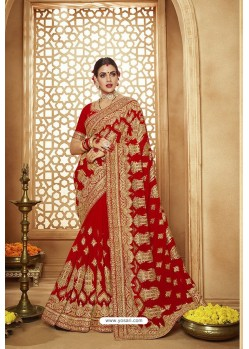 Incredible Red Heavy Designer Georgette Bridal Saree