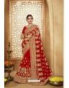 Incredible Red Heavy Designer Georgette Bridal Saree