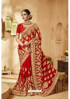 Latest Red Heavy Designer Georgette Bridal Saree