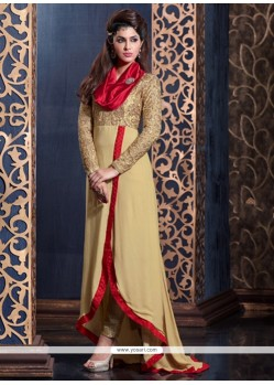 Exotic Zari Work Beige Georgette Floor Length Anarkali Suit