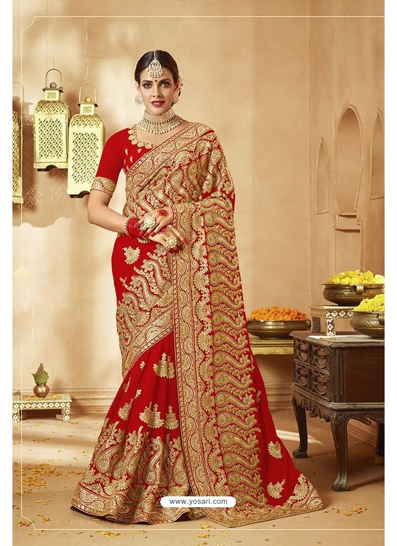 Fabulous Red Heavy Designer Georgette Bridal Saree
