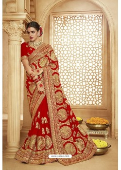 Girlish Red Heavy Designer Georgette Bridal Saree