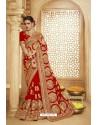 Girlish Red Heavy Designer Georgette Bridal Saree