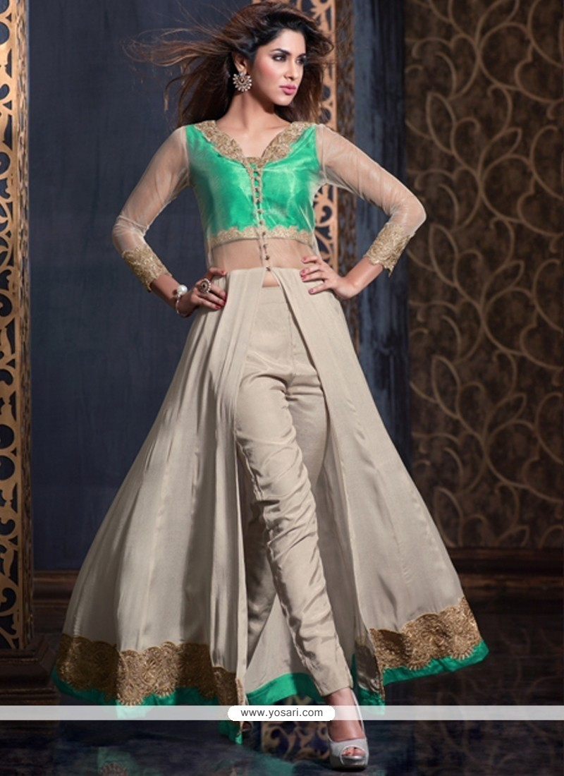 Dainty Embroidered Work Crepe Silk Salwar Suit