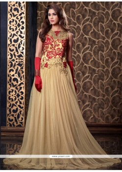Lavish Resham Work Cream Floor Length Anarkali Suit