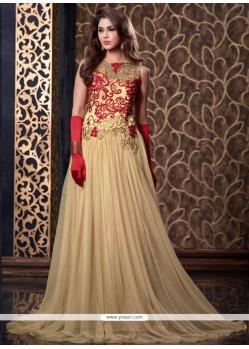 Lavish Resham Work Cream Floor Length Anarkali Suit