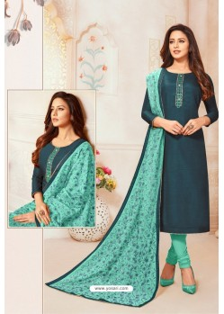 Navy And Turquoise Blue Soft Silk Churidar Suit