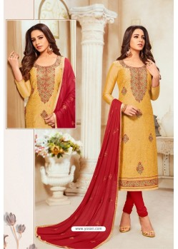 Mustard Yellow And Red Modal Silk Churidar Suit